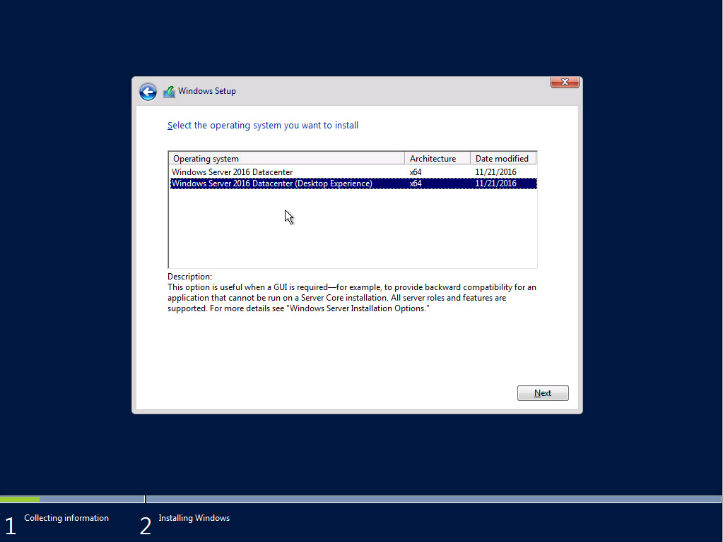Install Windows Server 2016 GUI