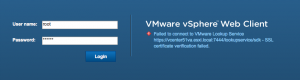 Failed to connect to vmware lookup service