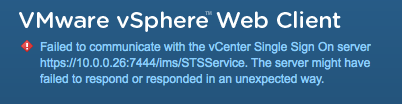 Failed to communicate with the vCenter Single Sign on server